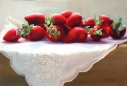Strawberries on White Linen